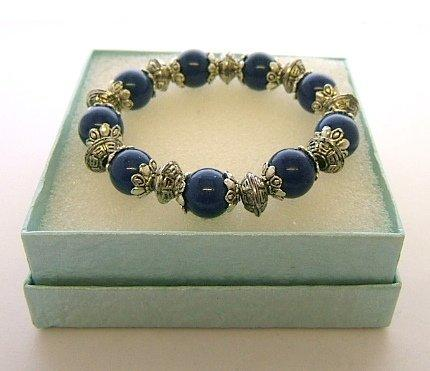 Ladies Tibetan Silver Bracelet Royal Blue