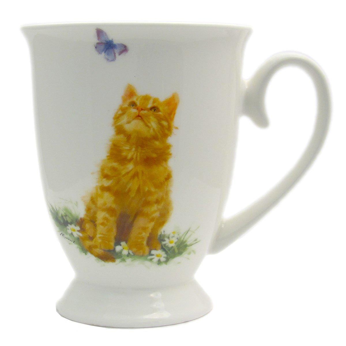 Playful Ginger Cat Coffee and Tea Cups