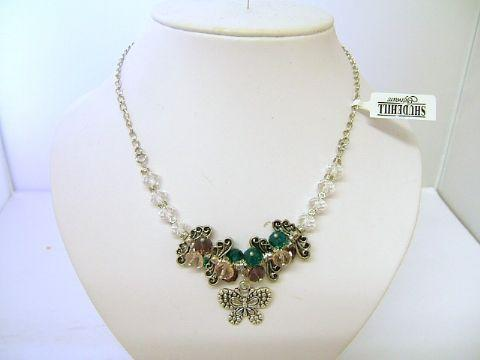 Ladies Trevi Butterfly Cluster Bead Necklace Geen