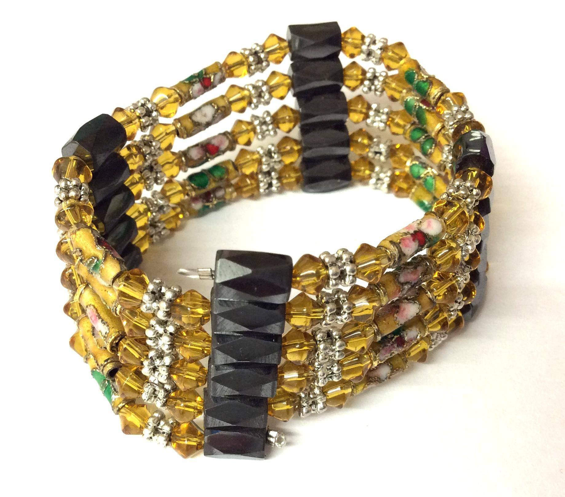 Magnetic Hematite Wrap Around Bracelet Amber