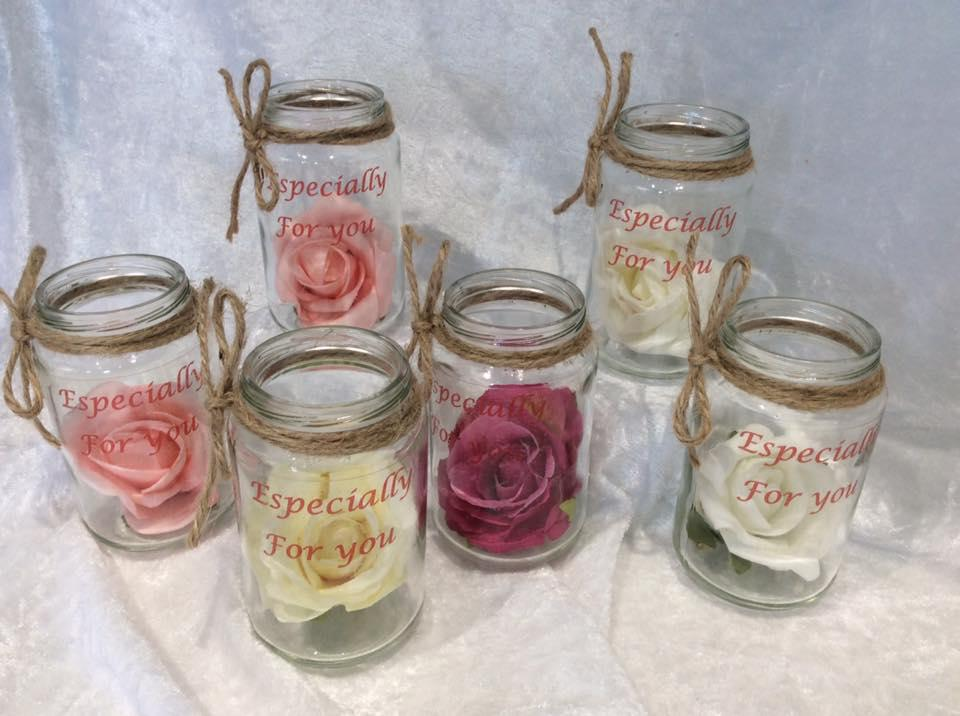 Rose in Glass Jar, Thank you Gift Especially for a Special Person