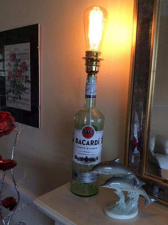 Upcycled Bacardi Rum Bottle Table Lamp