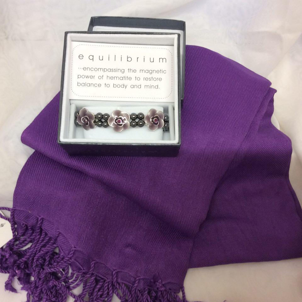 Pashmina and Bracelet Gift Pack purple