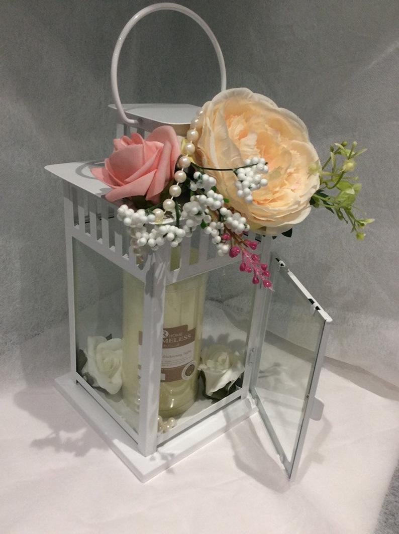 Floral Lantern with Scented Flameless Candle Peonies and Roses