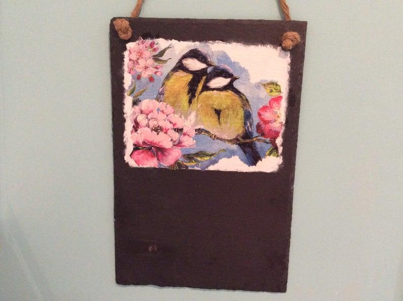 Slate Blue Tit Memo Board complete with chalk