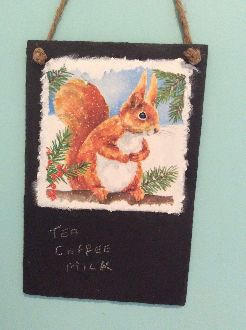 Slate Red Squirell Memo Board complete with chalk