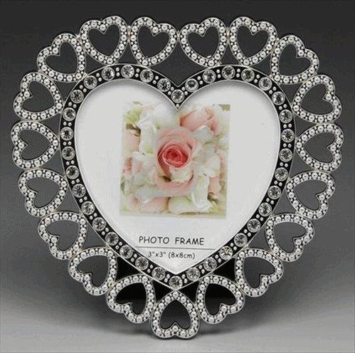Silver Heart Filigree Photo Frame