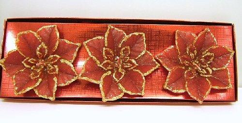 Tealight Candles Large Red Glitter Poinsettia