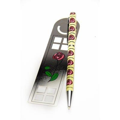 Pen and Bookmark Gift Set Mackintosh Roses Cream Design