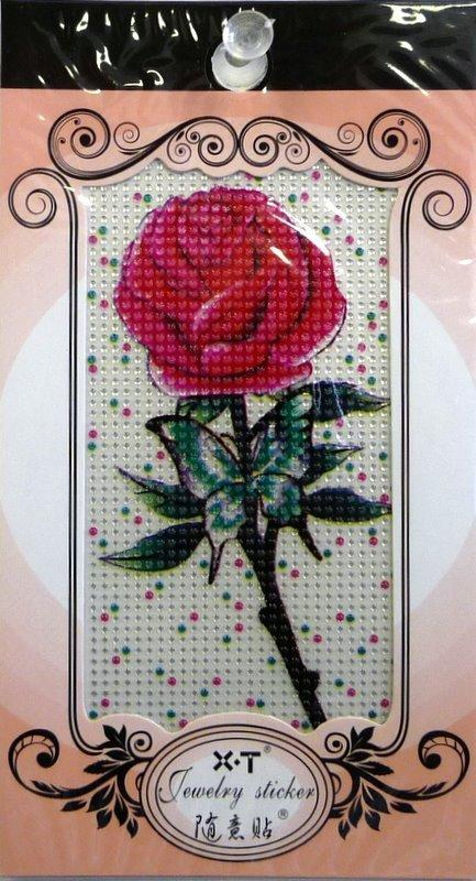 Jewellery Sticker Large Red Rose Design
