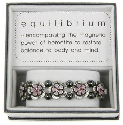 Equilibrium Bracelet Antique Silver and Purple Flowers