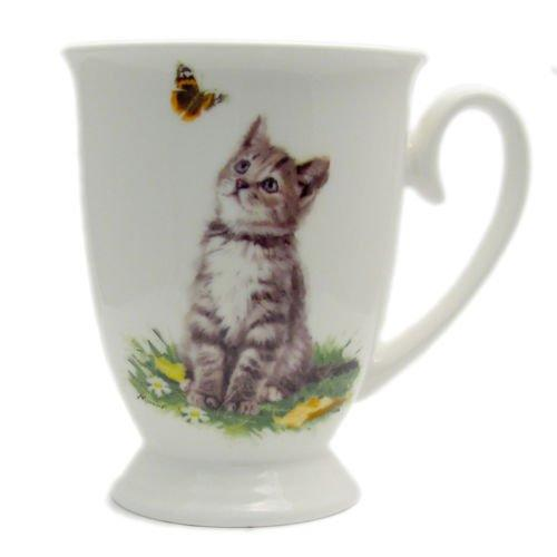 Playful Grey and Whit Cat Coffee and Tea Cups