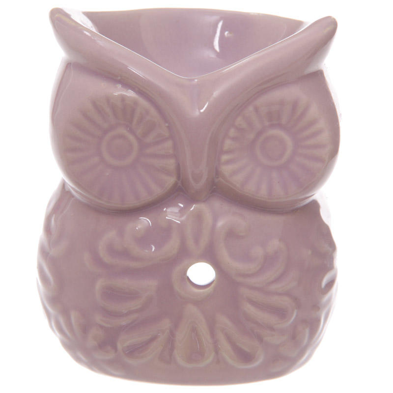 Oil Burner Pink Ceramic Owl and Flower Design