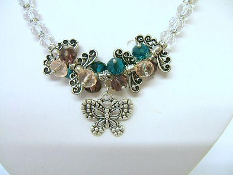 Ladies Trevi Butterfly Cluster Bead Necklace Green