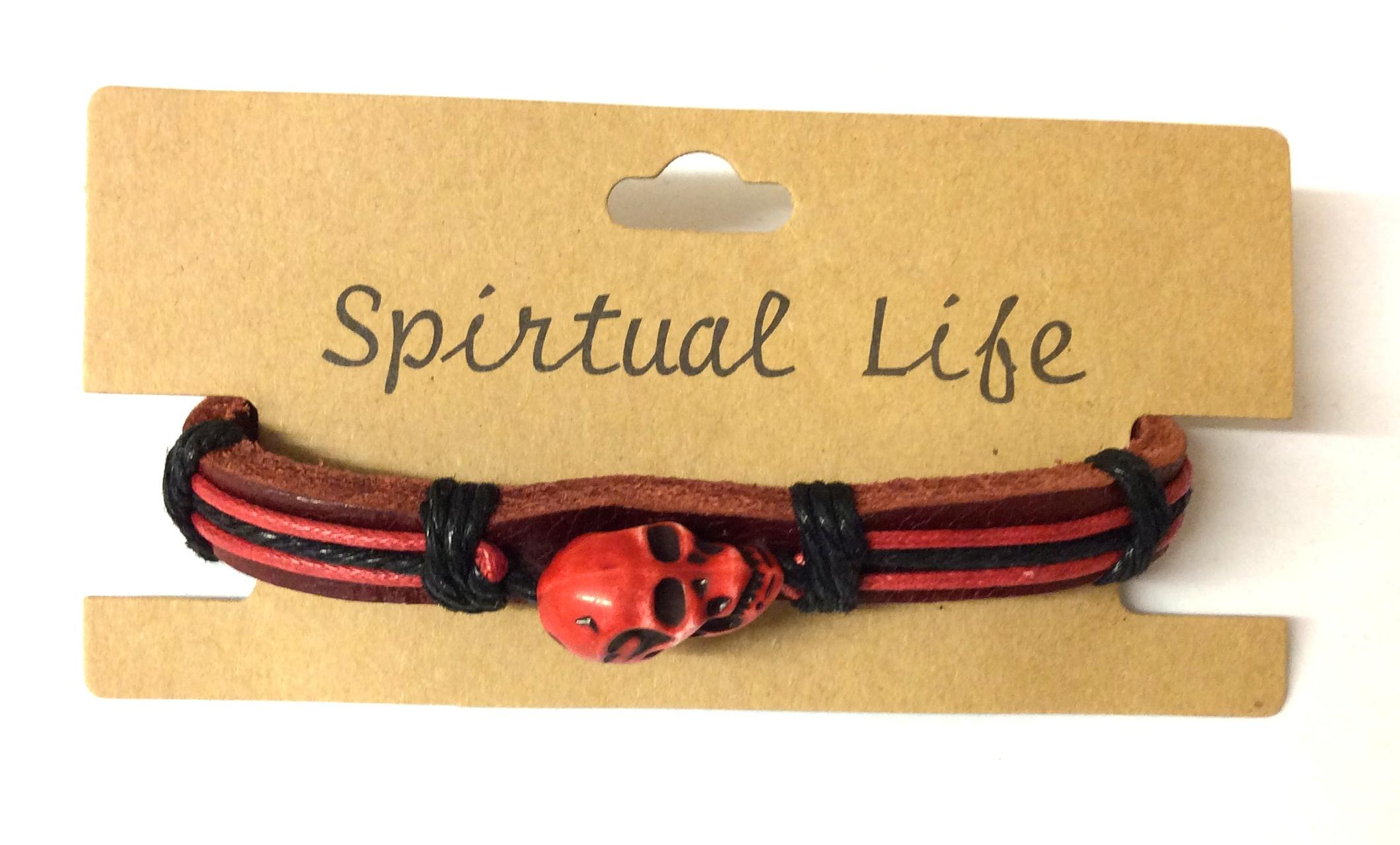 Leather Bracelet Skull Design Red
