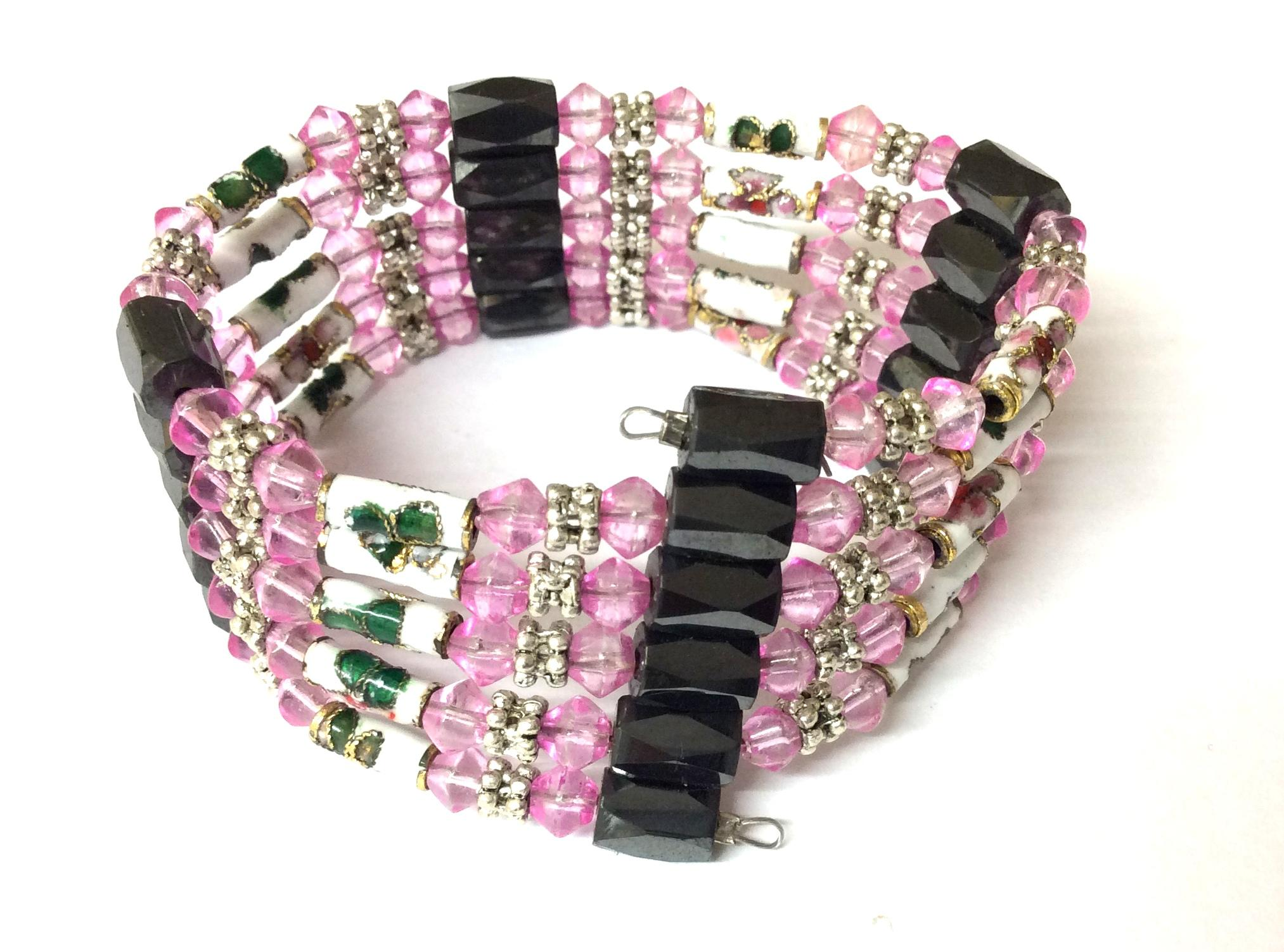 Magnetic Hematite Wrap Around Bracelet Bright Pink