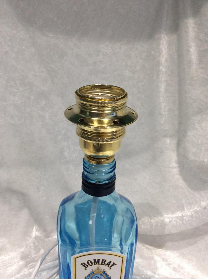 Upcycled Glass Bottle Table Lamp Bombay Sapphire Gin Lamp Holder