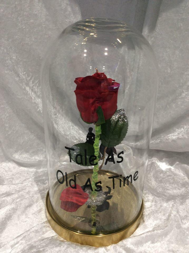 beauty and the beast  glass globe  enchanted rose