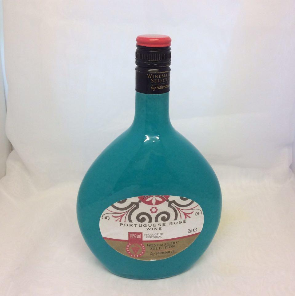 Decorated  Wine Bottle Clock Blue