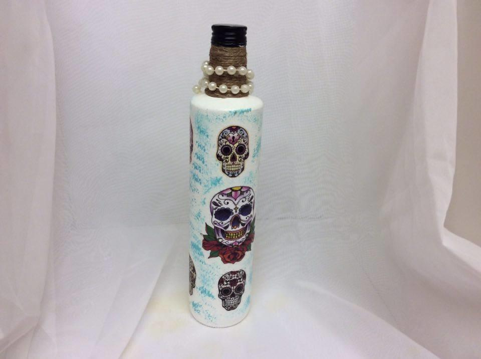 Decorated Wine Bottle Day of the Dead