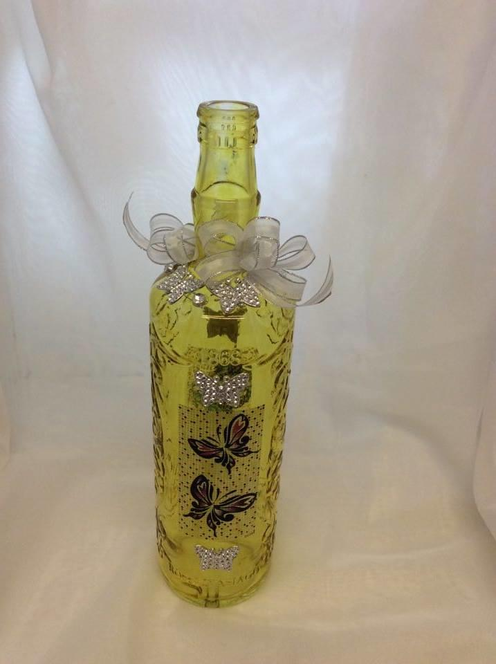 Decorated Wine Bottle Fairies and Butterflies