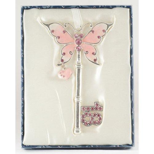 18th Birthday Celebration Butterfly Key with Pink Heart