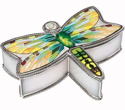 Amia Glass Jewellery Box Pond Hawk Design