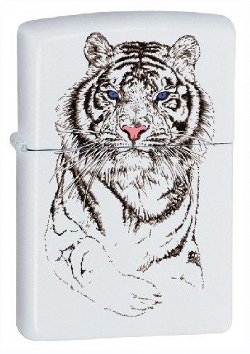 Zippo Lighter Black and White Tiger Design