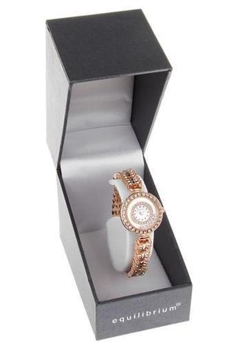 Ladies Equilibrium Watch Golden with Diamante Strap and Face