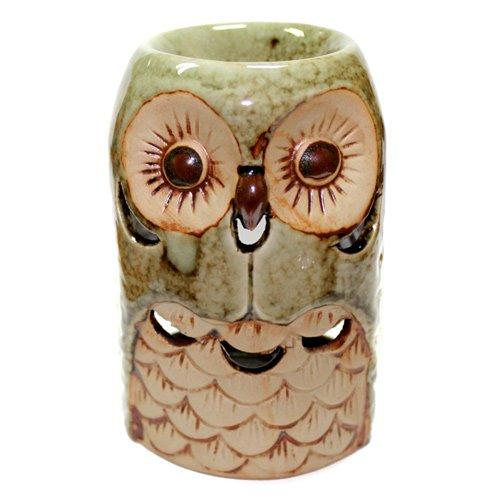 Oil Burner Green Glazed Ceramic Owl Design