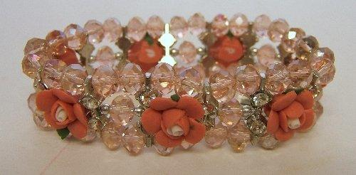 Ladies Trevi Cuff Bracelet 3 String Flower Pink
