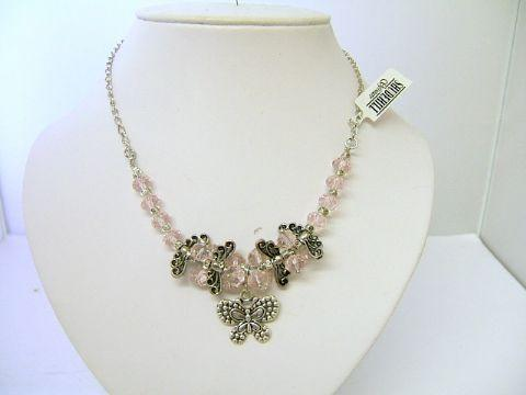 Ladies Trevi Butterfly Cluster Bead Necklace Pink