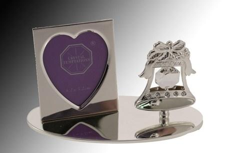 Crystal Temptations Wedding Bell with Mini Heart Photo Frame