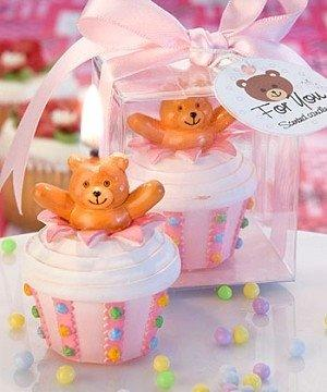 Baby Favour Teddy Bear Inspired Pink Cupcake Candles