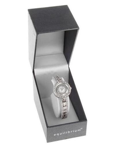 Ladies Equilibrium Watch Silver with Diamante Strap and Face