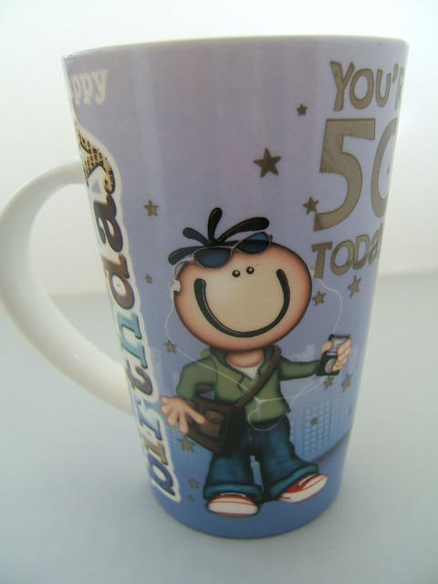 Planet Happy Fine China Latte Mug 50 Today for Him