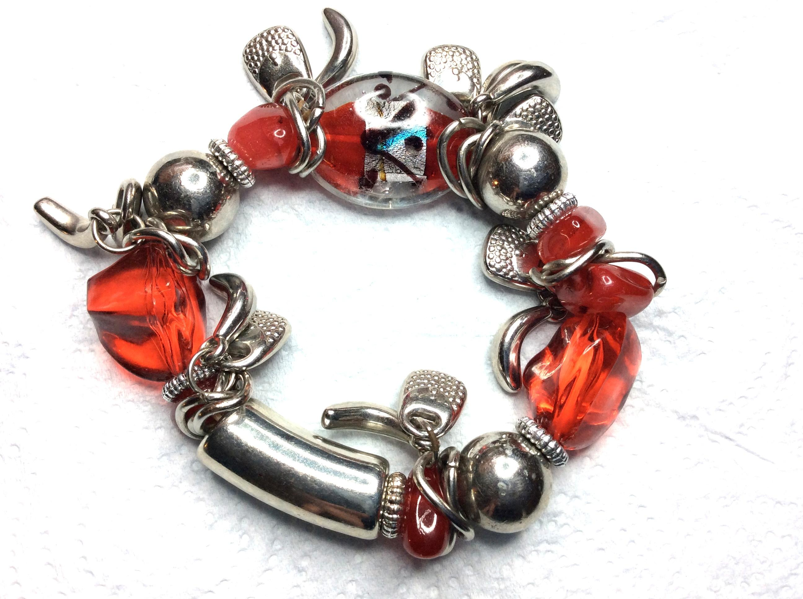 Ladies Red Acrylic and Silver Charm Bracelet