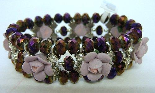 Ladies Trevi Cuff Bracelet 3 String Flower Purple