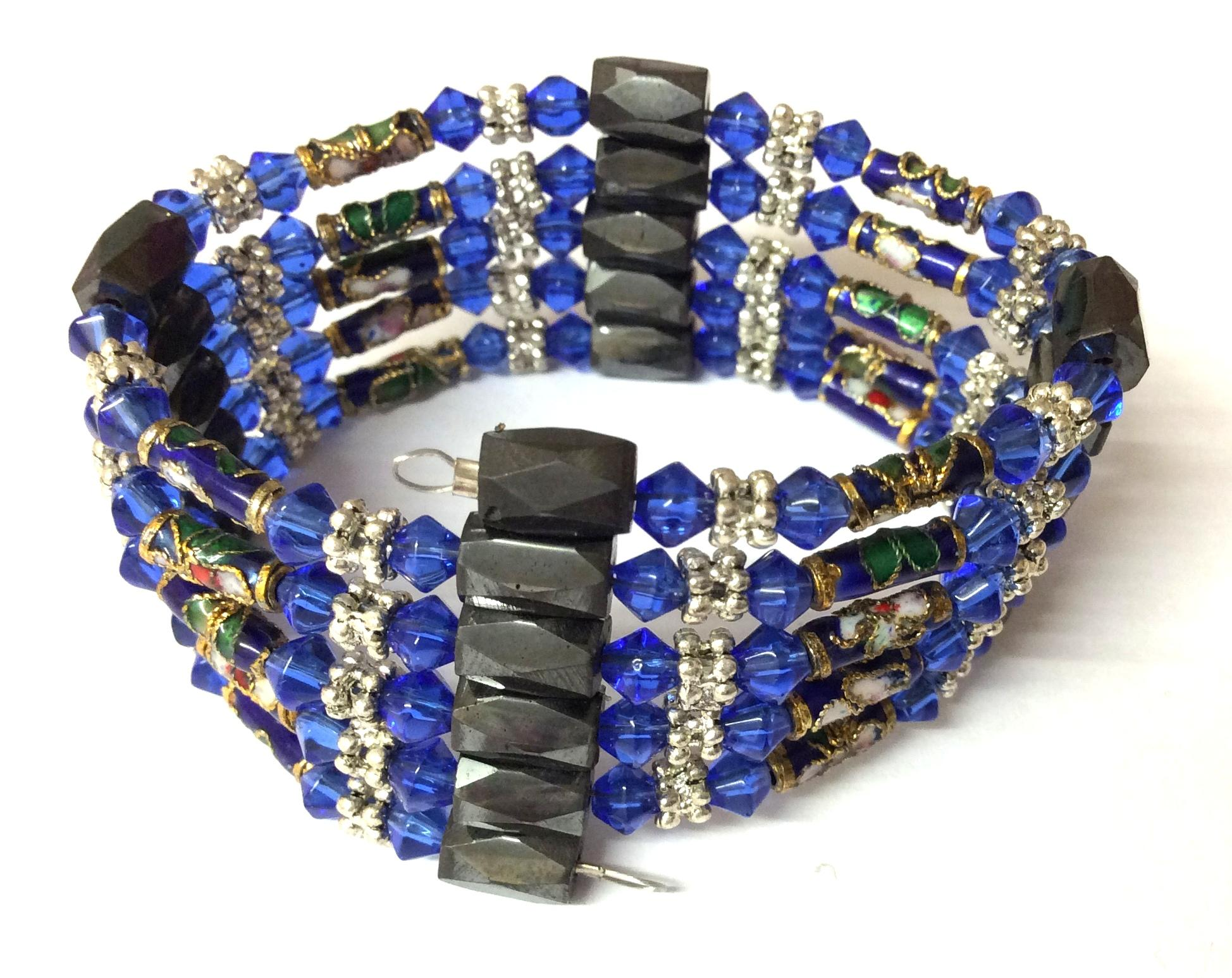 Magnetic Hematite Wrap Around BraceletDark Blue