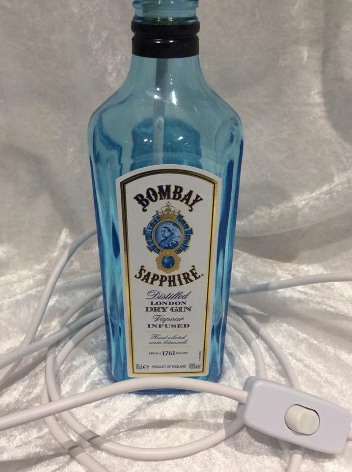 Upcycled Glass Bottle Table Lamp Bombay Sapphire Gin Inline Switch