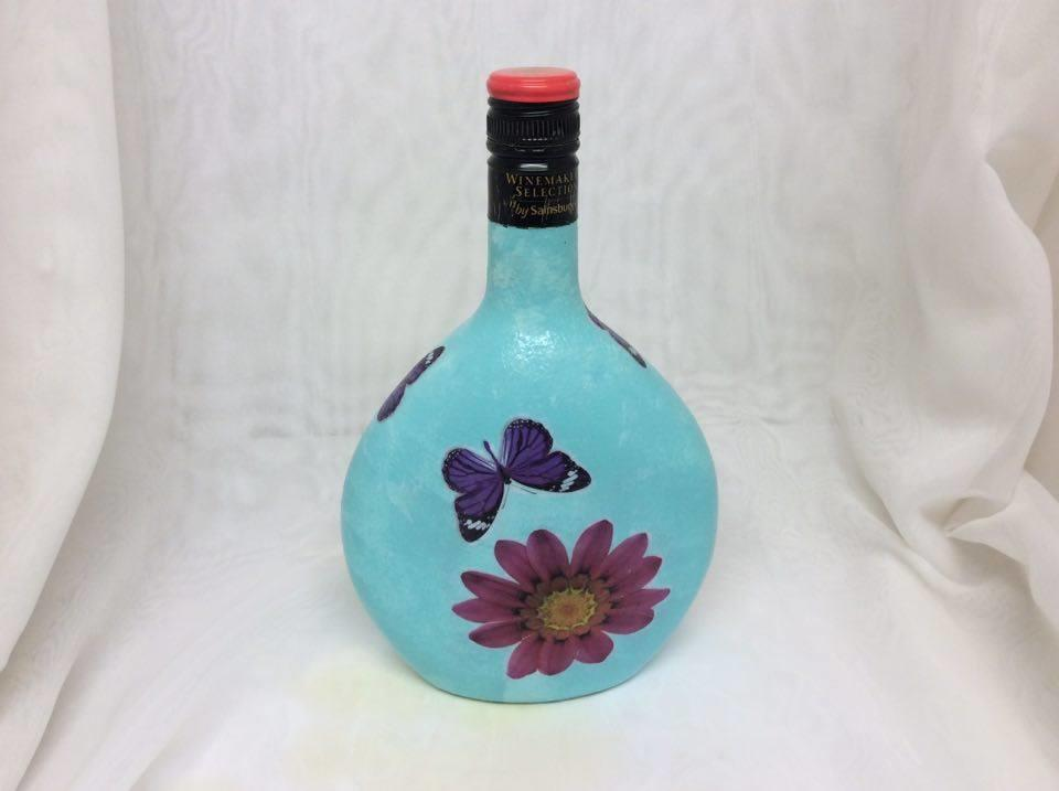 Decorated Wine Bottle Clock Flowers and Butterflies