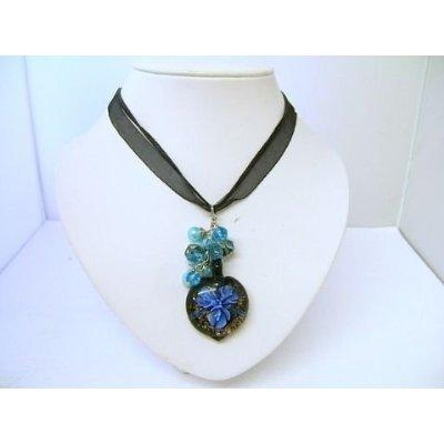 Millefiori Necklace Black Ribbon Heart Pendant with Beads