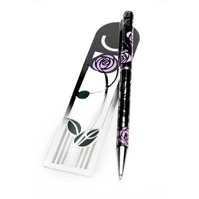 Pen and Bookmark Gift Set Mackintosh Rose Bud Design