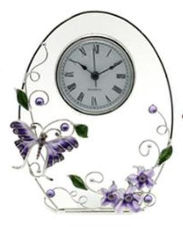 Butterfly and Crystal Lilac Floral Design Glass Oval Clock