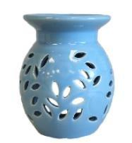 Oil Burner Ceramic Glazed Floral Pattern Blue