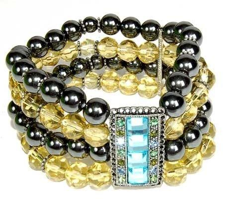 Hematite Bracelet Black and Yellow Gems