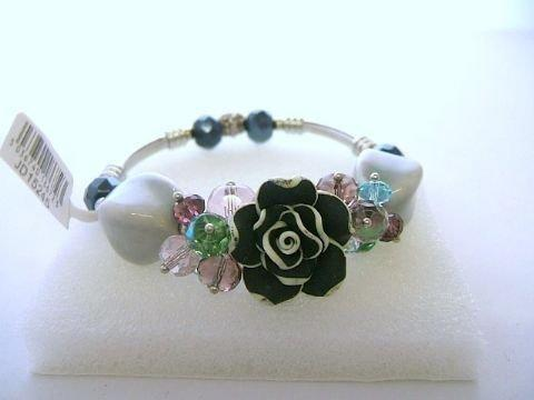 Ladies Trevi Bracelet Roses and Beads Black