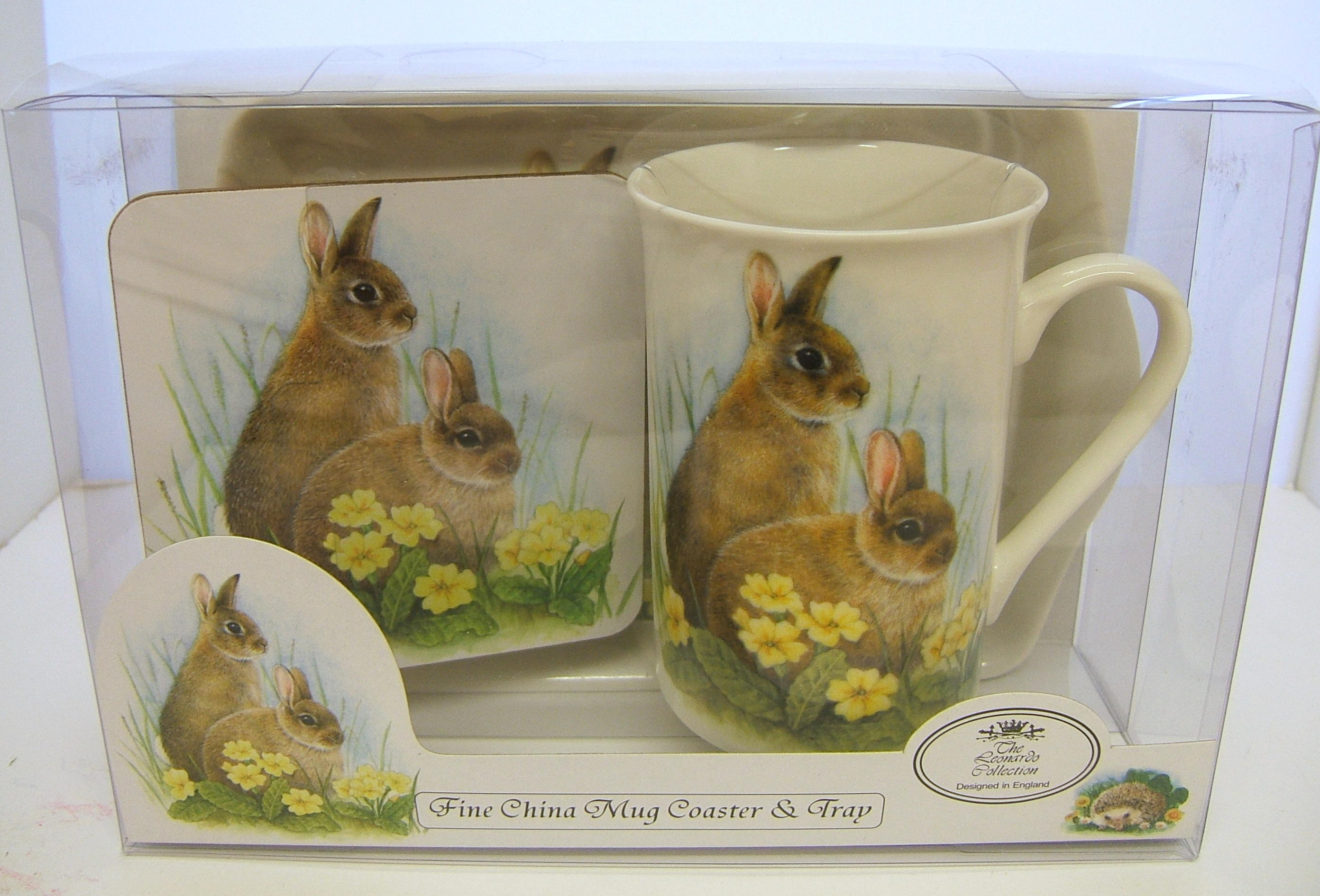 Mug Tray and Coaster Set Wildlife Rabbit