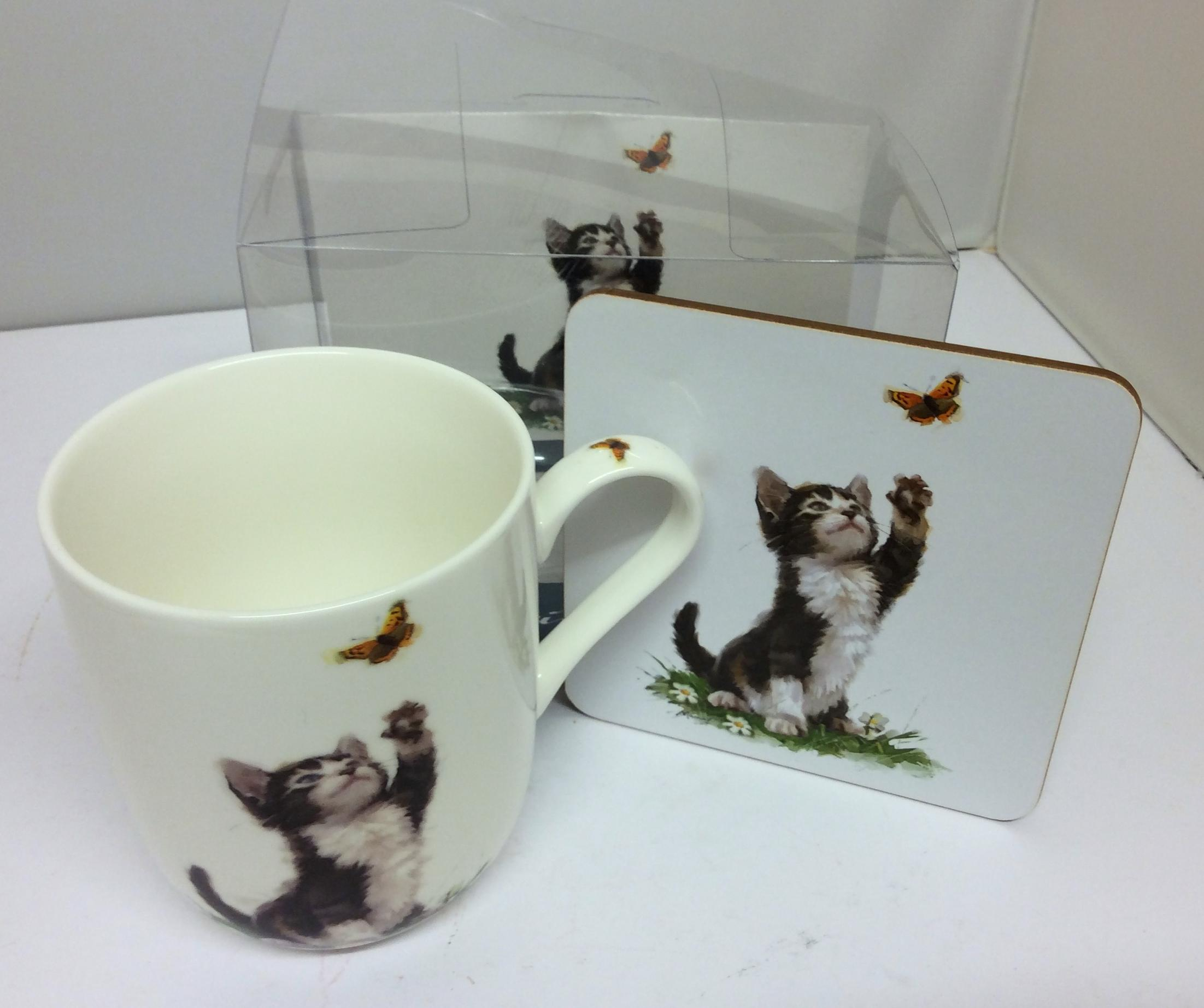 Playful Black & White Cats Mug and Coaster