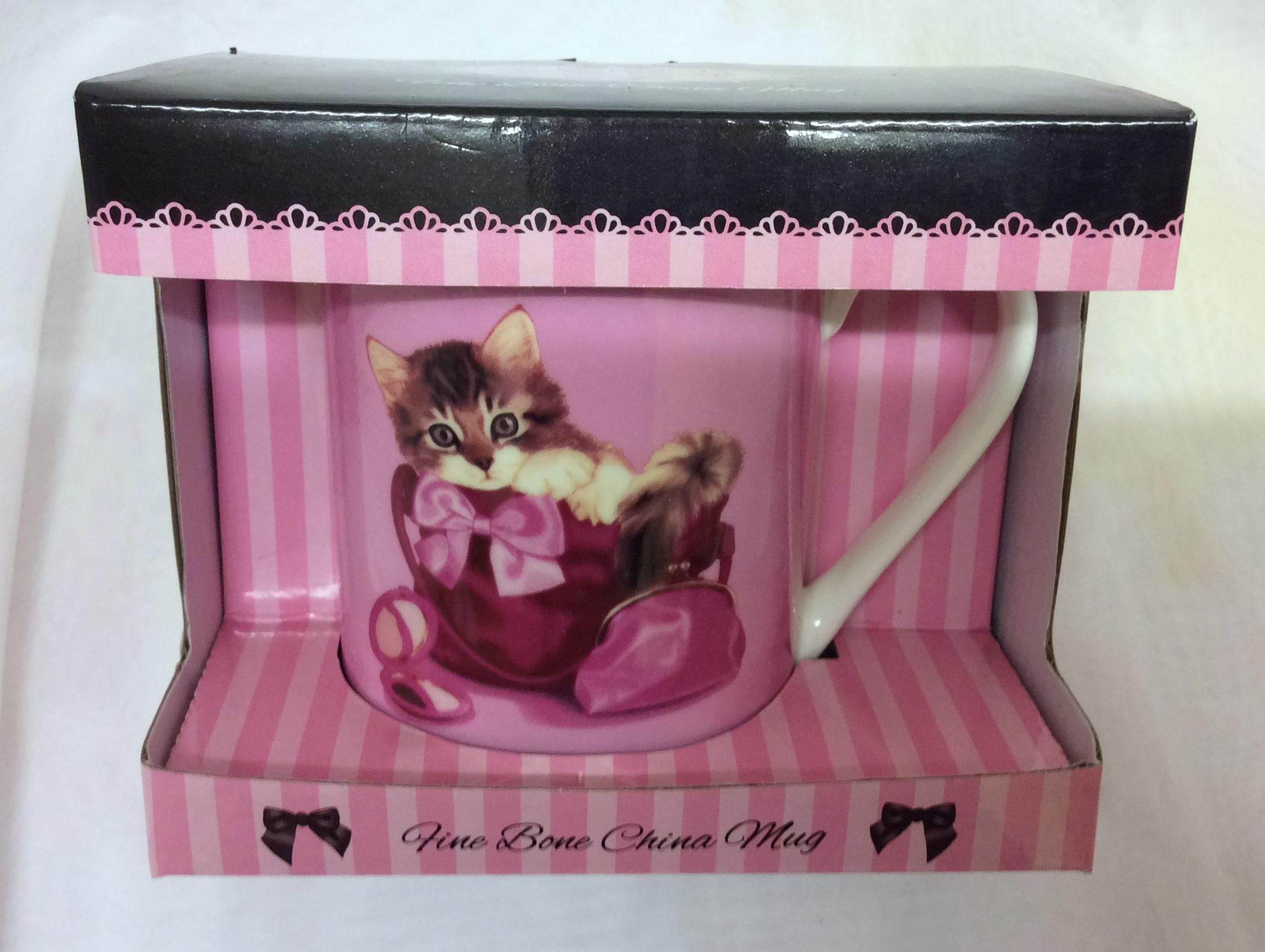 Cute Kitten in Make Up Bag Fine Bone China Mug